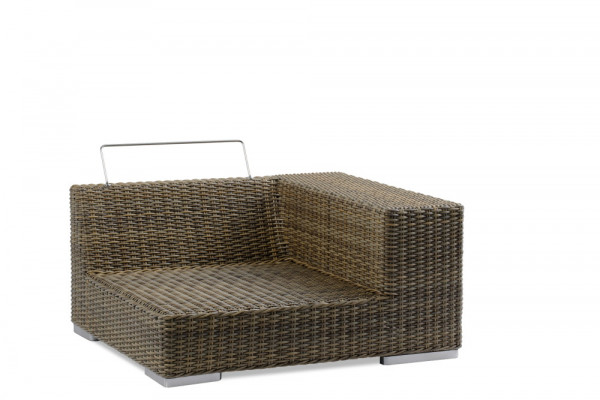 Gartenlounge Endelement linke Seite Rattan 8mm old grey